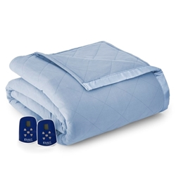 Micro Flannel Electric Heated Blanket - Wedgwood
